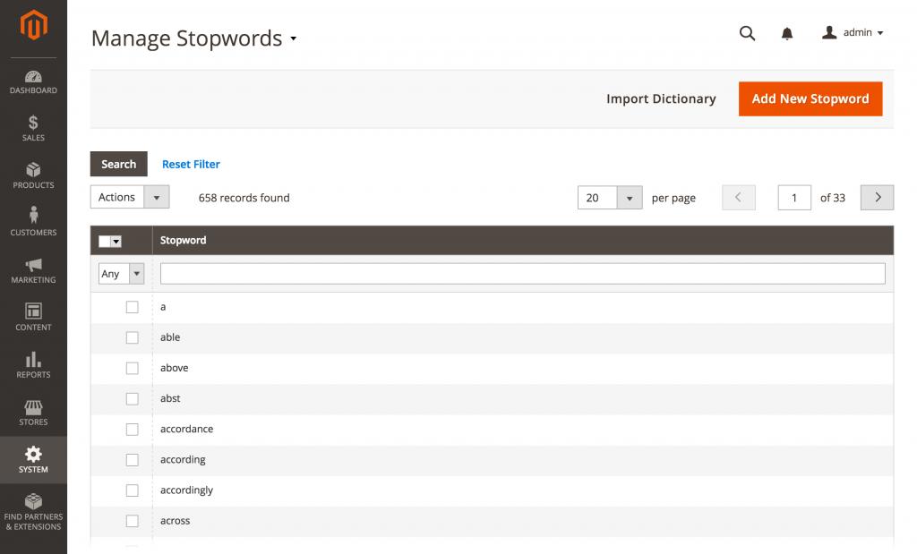 a list of stopwords
